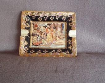 Exquisite Satsuma antique handpainted ashtray