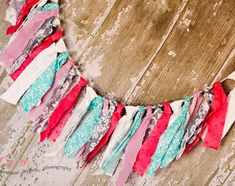 Aqua, Coral, White, Gray Damask Rag Cloth Garland Banner Newborn Photography Prop Home Decor Birthday Party