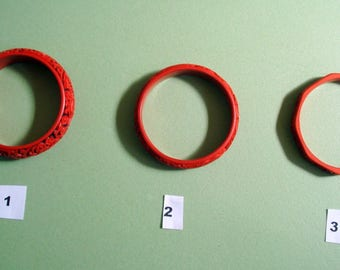 CHINESE CARVED Red CINNABAR Lacquer Bracelets