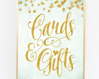 "Mint and Gold Cards & Gifts Sign 8"" x 10"" - DIY Printable File For Printing On Your Own - Wedding / Bridal Shower Sign Printable"