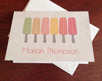Popsicle Personalized Note Cards (set of 10)
