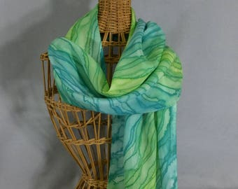 "Silk Scarf ""Spring Green Stripe"", Hand Painted Silk Scarf, Green Silk Scarf"