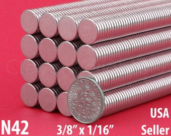 """20 Pk - 3/8"""" x 1/16"""" Neodymium Magnets - N42 - Super Strong Rare Earth Disc Magnets - Fridge Scientific Mags - 10mm x 1.5mm - .375 Inch"""