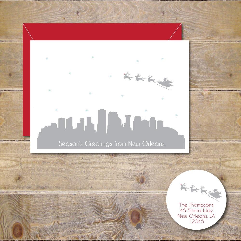 Christmas Cards Holiday Cards Santa New Orleans Skyline