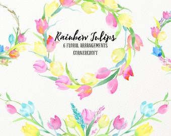 Rainbow tulip floral arrangements, tulip posies and tulip wreaths, watercolor pastel color tulips, spring flower, for instant download