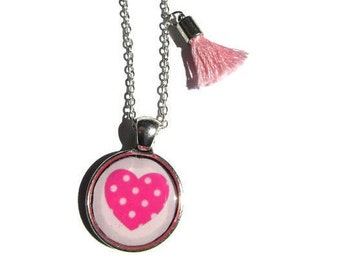 CHILD NECKLACE - Kid Necklace - Girl Necklace - Pink Heart Necklace - Junior Bridesmaids - Kids Jewelry