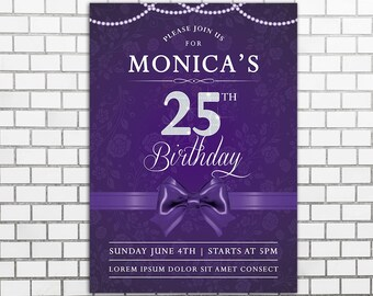 Purple invitations etsy quick view 25th birthday invitations filmwisefo