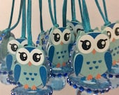 Owl blue baby shower pacifier/owl blue baby shower favors/owl  blue baby shower necklace game/owl baby shower(10 PCs