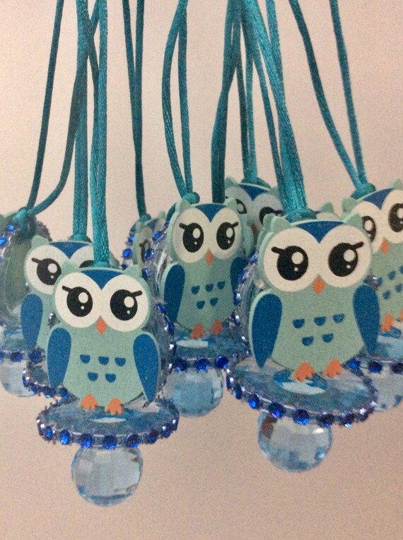 Owl Blue Baby Shower Pacifier/owl Blue Baby Shower Favors/owl Blue Baby  Shower