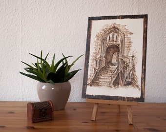 "Woodburned ""Castle Entrance"""