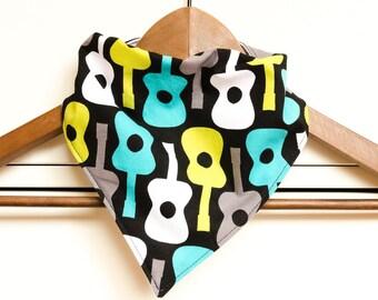 Bandana Bib - Groovy Guitars - Cotton - Baby boy - Stylish - Baby gift - Fun