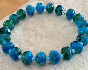 Blue and green bracelet, Czech glass bead bracelet, seed bead bracelet, stretch bracelet, silver bracelet, blue stretch bracelet