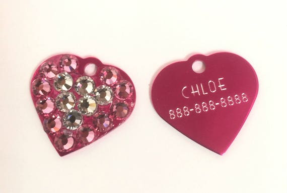 Bling Crystal Rhinestone Dog Cat ~Small Heart~ ID Engravable Tag, 5 Fonts, Clip Art - High Quality - USA