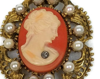 Vintage Cameo With Pearls Surround and Diamond Pendant and Chain