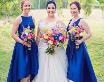 High Neck, High Low Bridesmaids Dress