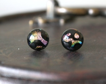 Carneval Earring Posts - Pink Yellow Green Black Dichroic Glass Ear Studs, Hypoallergenic Surgical Steel Jewellery Handmade by Ikuri