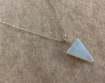 Opalite pendant on silver chain