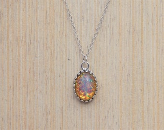 Antique Silver Fire Opal Necklace, Vintage Fire Opal Necklace, Antique Silver Pendant, Fire Glass Opal Necklace, Sterling Silver Necklace