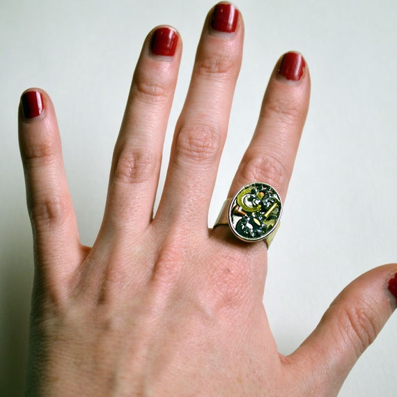 Hardware ring, industrial jewelry, gear jewelry, adjustable ring