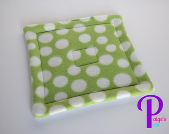 Potty Pad with U-Haul Lining for Guinea Pigs, Ferrets, Hedgehogs, etc. | Green Polka Dot with Grey