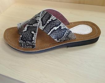 Snake skin leather sandal