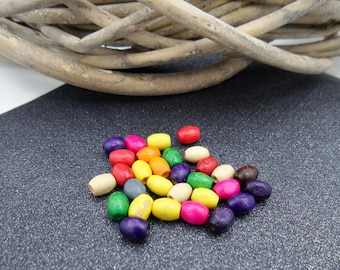 wood grain of rice 6x4mm multicolored 30 beads