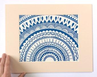 linocut - SHAMISHA // 11x14 art print // printmaking // block print // geometric // mandala // original art // sun // star // blue // 8x10