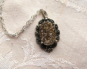 Druzy Quartz 14x10mm Oval Sterling Silver and Marcasite Pendant 18 inch Chain