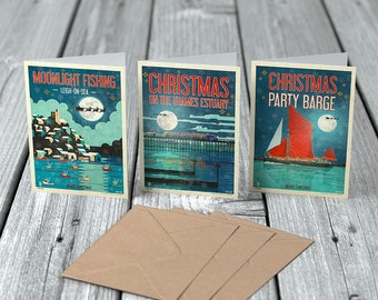 3 Christmas Poster Greeting Cards with Envelopes