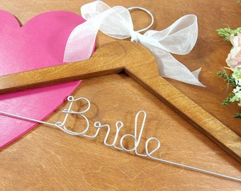 Bride Coat Hangers - Bride Hangers - Bridal Hangers - Wedding Dress Hangers - Bridal Accessories - Bridal Photo Props - Wedding Name Hanger