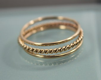 Thin Gold Rings Set of 3 14k SOLID Yellow Gold Stack 1 Very Skinny Rope Twist Infinity Ring  2 Thin Round Simple Stacking Band Ring  Shiny F