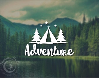 "Wall Vinyl Decal ""Adventure"", with tent, stars, pine trees and writing, great for your car or laptop"
