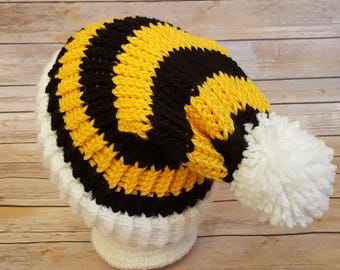 Yellow Black Slouchy Hat, Black Yellow Sports Team Hat, Steelers Hat, Knitted NFL Hat, Bumble Bee Beanie