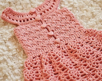 Crochet dress PATTERN - Peony Lace Dress (sizes up to 7 years)