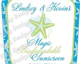 Beach Wedding Sunscreen Bottle Labels - Starfish Label - Beach Stickers