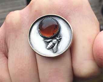 Amber Ring, Bumblebee Ring, Sterling Silver Ring, Statement Ring, Size 7 Ring