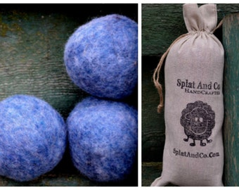 XL Wool Felt Dryer Balls - Wool Felt - Denim Blue Dryer Balls