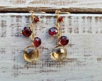 Champagne Citrine and Rhodolite Garnet Drop Earrings. Petite Chandelier. Red and Gold. November birthstone jewelry.