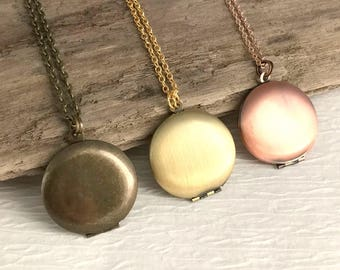 Small Locket Necklace, gold, rose gold and bronze, locket pendant, photo locket, plain locket, small gold locket, small rose gold locket