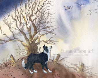 Border Collie dog 8x10 Susan Alison art print frm watercolor painting sheepdog lonesome tree migrating birds flying home landscape peaceful