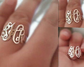 Monogram ring Sterling silver with initials-initials ring-you can order any initials-Christmas gift for women