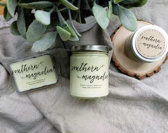 southern magnolia - hand poured soy candle