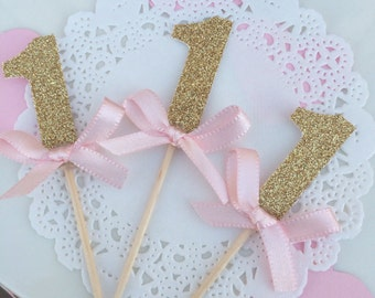 First Birthday Cupcake Toppers/Pink and Gold 1st Birthday Toppers/Mint and Gold First Birthday Toppers/ Glitter First Birthday Toppers