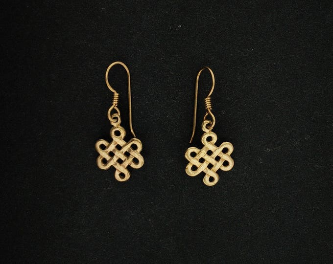 Small Endless Knot Earrings in Gold Made to Order