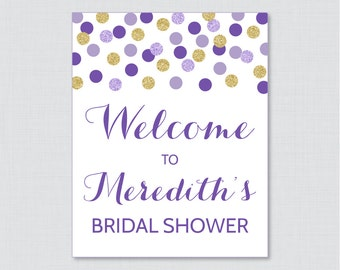 Purple and Gold Bridal Shower Welcome Sign Printable - Purple and Gold Glitter Dots Bridal Shower Customizable Sign - Gold Glitter 0001-R