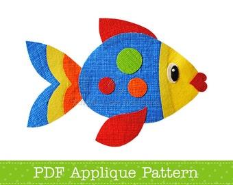 Fish Applique Template PDF Pattern Animal Sea Creature Applique Design by Angel Lea Designs, Instant Download Digital Pattern