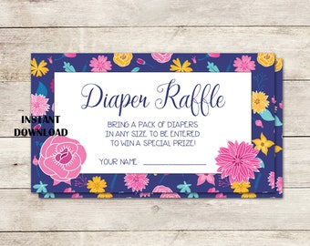 Diaper Raffle Ticket, Instant Download, Baby Shower Diaper Raffle, Floral Diaper Raffle, Flowers, 3.5 x 2 inch, Baby, Printable No. 1022
