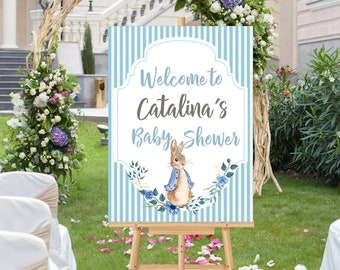 Baby Shower Welcome sign, Printable Peter Rabbit Welcome sign, Baby Shower decor, Peter Rabbit party, Printable Baby Shower welcome sign