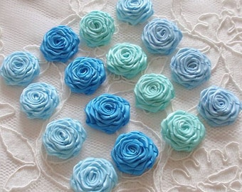 16 Small Handmade Ribbon Roses (7/8 to 1 inches) In Aqua, Blue Topaz, Blue Mist, lce mint MY- 616-03 Ready To Ship