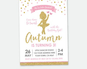 Ballerina Birthday Invitation, Ballet Birthday Party, Pink & Gold, Tutu Birthday Party, Personalized DIGITAL Invitations